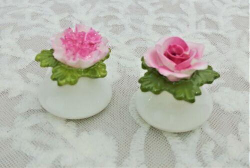 Vintage AYNSLEY English Fine Bone China SALT & PEPPER SET Pink Rose Carnation