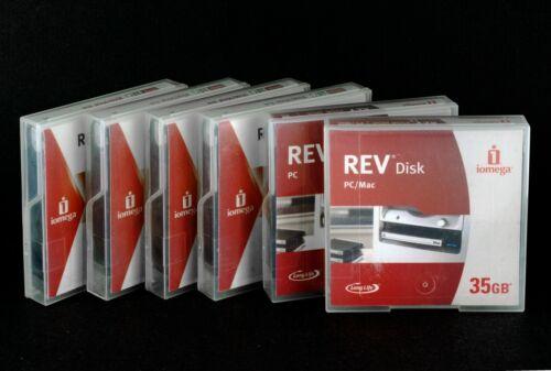6 x Iomega REV Disks 35GB Removable Hard Drive Disks PC formatted