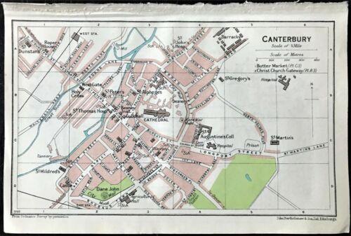 Antique Color Map : CANTERBURY, ENGLAND : 100% AUTHENTIC Muirhead ORIGINAL 1930
