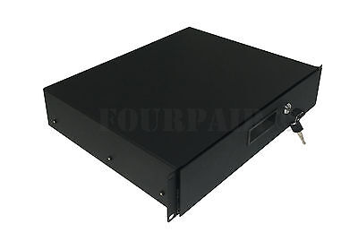 "2 Space 2U Heavy-Duty 19"" Lock Locking Deep Rack Mount Drawer DJ Rack Road Case"