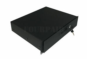 2-Space-2U-Heavy-Duty-19-034-Lock-Locking-Deep-Rack-Mount-Drawer-DJ-Rack-Road-Case
