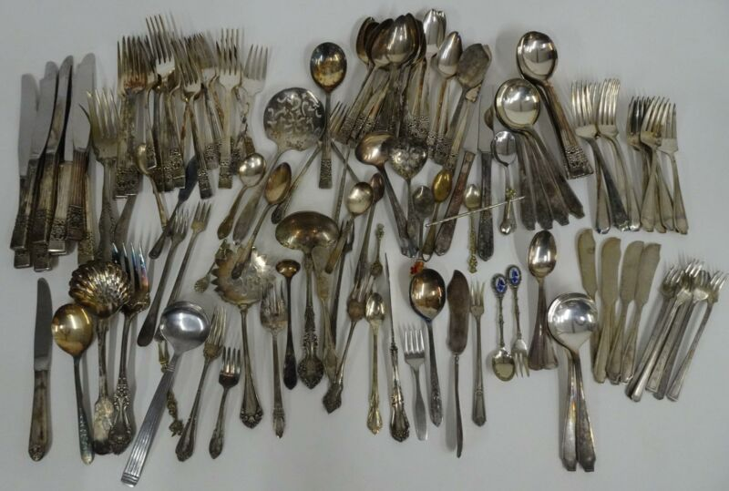 Mixed Lot 120 Piece Silverplated Silverware Tableware Forks Knives Spoons Server