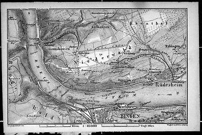 BINGEN / RÜDESHEIM, alter Stadtplan, gedruckt 1896