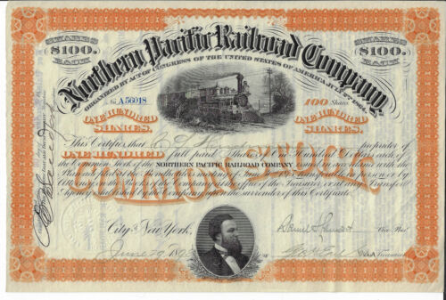 1898 Northern Pacific Railroad Company Stock Certificate Daniel Lamont