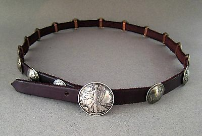 BUFFALO NICKEL CONCHO / BUTTON BELT w/ SILVER WALKING LIBERTY BUCKLE  #978
