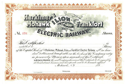 Herkimer Mohawk Ilion and Frankfort Electric Railway. Stock Certificate