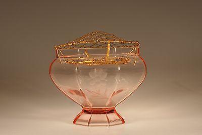 Vintage Deco Czech Glass Large Pink Vase Metal Frog Floral Cutings c.1935