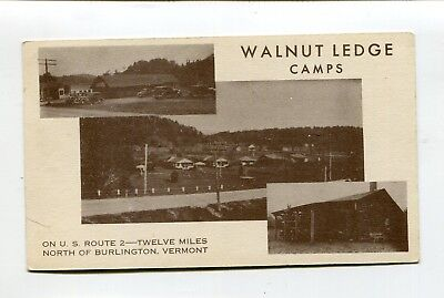 Vintage Postcard WALNUT LEDGE CAMPS Milton VT 12 cabins 1936 multi-view