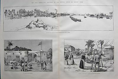 1884 ANTIQUE PRINT- NILE EXPEDITION-GENERAL VIEW OD ASSOUAN, DONGOLAM,WADY HALFA