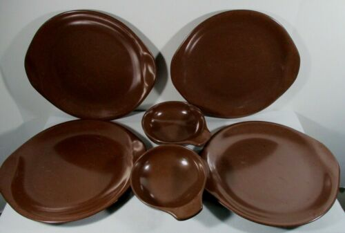 Russel Wright Residential by Northern Copper Brown 4 Dinner Plates 2 Lug Bowl
