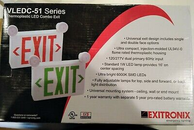Exitronic Thermoplastic Led Combo Exit Light Vledc-51 Series