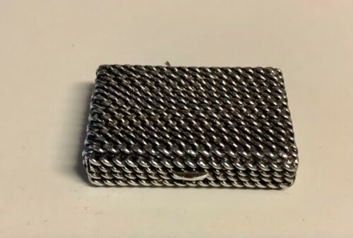 Tiffany & Co Sterling Silver Pill Box Rope Design Made in Italy