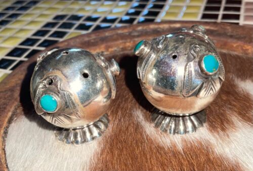 Antique - Sterling, Navajo, Turquoise Salt & Pepper Shakers, - Rare, Fred Harvey