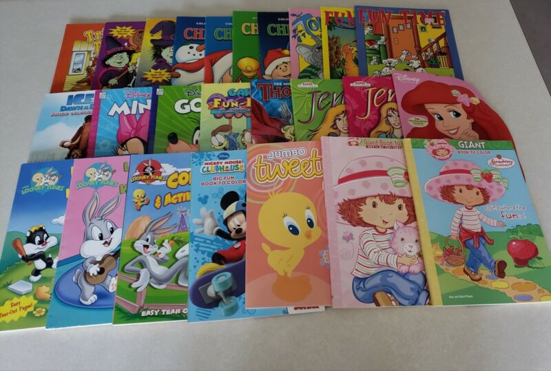 Set of 25 Coloring & Activity Books, Disney, Looney Tunes, Garfield & More