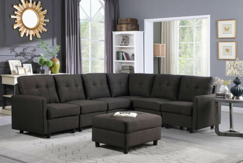 Contemporary Sectional Sofa Modern Sofa Set Microsuede Reversible Chaise