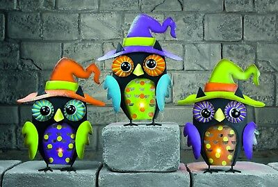 Halloween Dekoration Schwarz Eule Kerze Teelichthalter & LED Teelichter Neu ()