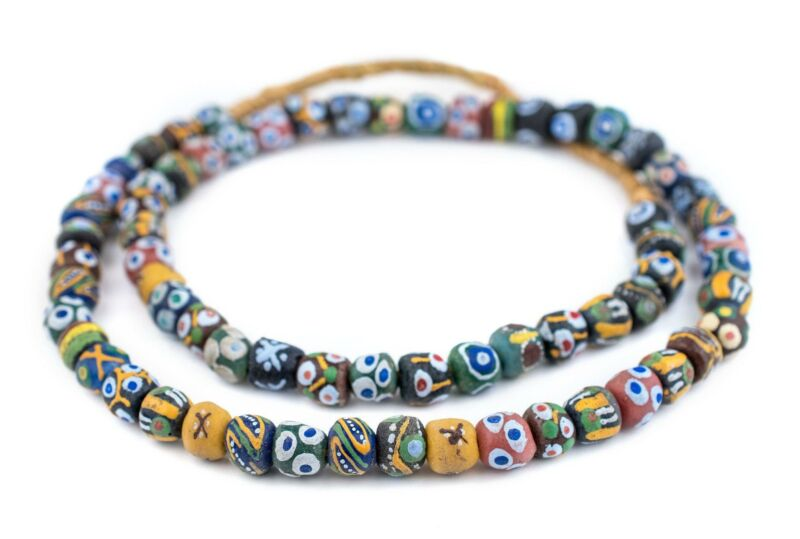 Mixed Krobo Powder Glass Beads Round 12mm Ghana African Multicolor Large Hole
