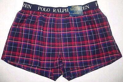 POLO RALPH LAUREN Mens SLIM FIT Stretch BOXER Underwear Shorts PLAID Blue Red XL