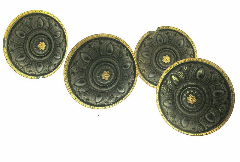 "1868 GUTTA-PERCHA 4 CURTAIN TIE BACKS W/GILDED RIM 3 3/8"" DIAMETER - BEST OFFER!"