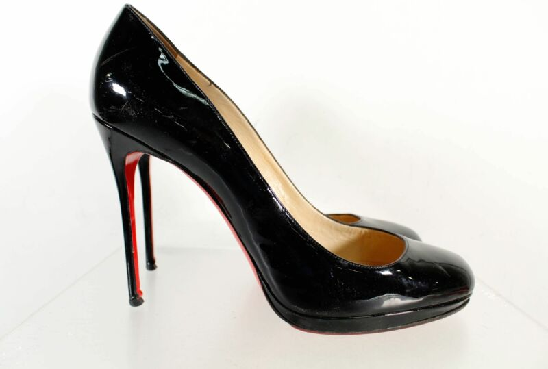 Christian Louboutin Made In Italy Black Patent Leather Stiletto Pumps Size 42