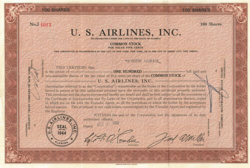 U. S. Airlines stock certificate > 1952 Florida