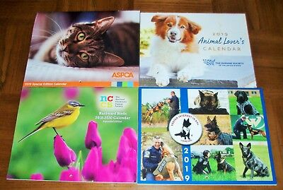 NEW 2019 CALENDARS LOT OF 4 - ANIMALS - DOGS - CATS - POLICE K-9 DOGS - BIRDS
