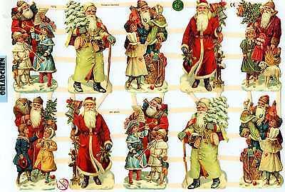 # GLANZBILDER # EF 7313, 10 nostalgische Weihnachtsmänner, schöne alte Motive