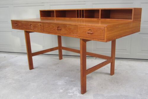 Dansk Peter Lovig Nielsen teak folding flip top desk danish modern 1973