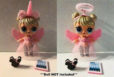 Angel Wings Dolls - 6 PC Custom LOL Surprise Dolls Angel Unicorn Accessories Clothes Wings Food Halo