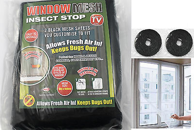 2 x Large Black Window Insect Screen Mesh Net Mosquito Fly Bug Netting UK