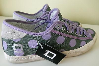 D.A.T.E. Warm Sneakers Shoes date Designer Grey Pfturple Polka Dot Size 8 / 39 N