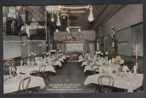 1910s Thomas G Harper Eating Place Burlington Iowa IA, Owner in small corner PC