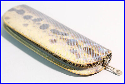 1950ies PELIKAN beige snake Leather pouch, zipper etui for 2 FOUNTAIN pens