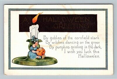 HALLOWEEN Vintage Whitney Postcard Child Sitting on Candle Stick with JOL