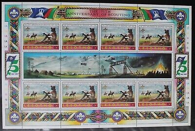 Lesotho – 1982 Scouts Set – SG476 – 40c in Sheet of 8 + 4 Labels UM (MNH) (R3)