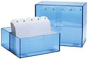 WEDO  Karteikartenbox   A6 quer blau mit 100 Karteikarten Karteikasten 2506303