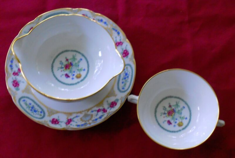 Bernardaud China VIGNY Gravy Boat with Attached Underplate and Cream Soup Bowl
