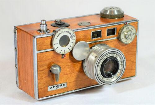 BOX CAMERA ARGUS C3 55-82-yr. old VINTAGE c. 1939-1966, CUSTOM CURLY CHERRY WOOD