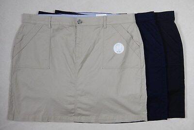 NEW Croft & Barrow Womens Khaki Navy Black Skort Skirt with Shorts 16W - 24W Black Khaki Skirt