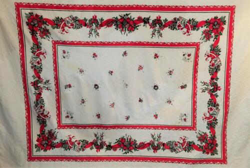 VINTAGE CHRISTMAS TABLECLOTH SANTA NOEL CHEERS REINDEER HOLLY WREATHES 74X59