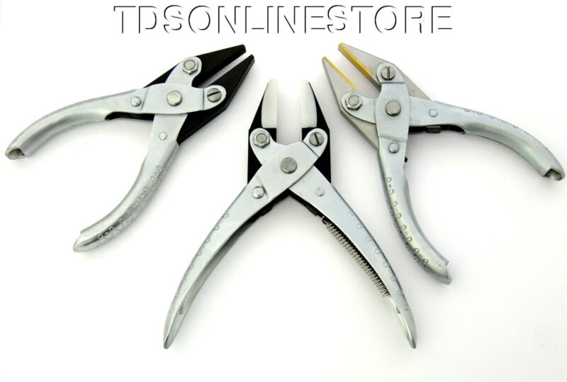 3 Pack Brass, Nylon, and Steel Flat Jaw Parallel Pliers