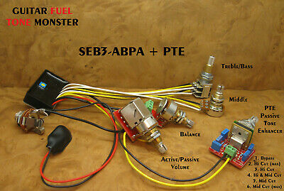 TONE MONSTER SEB3-ABPA + PTE Guitar Bass Preamp Active Passi