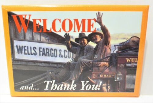 Vintage Wells Fargo Bank Western Stagecoach WELCOME and THANK YOU Button Pin