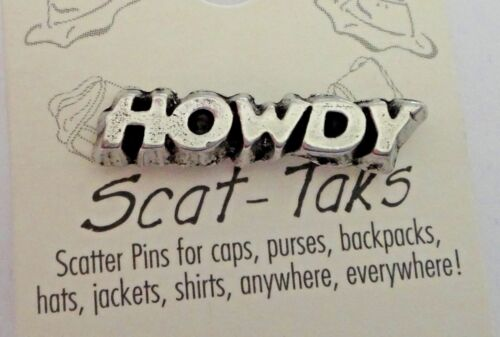 Pewter Texas A&M University ATM Aggie Skat Tie Tack Lapel Pin says Howdy!