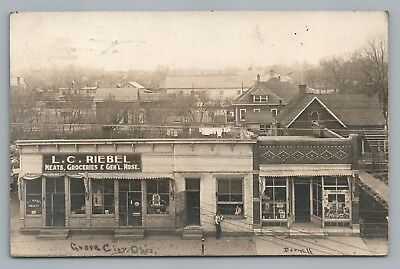 LC Riebel General Store RPPC Grove City OH Rare Antique Advertising Photo 1912
