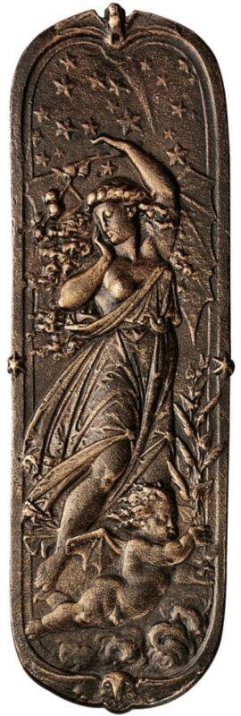 Victorian Night Maiden & Cherub Stars Antique Replica Iron Door Push Plate