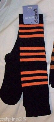 Black Orange STRIPED Perfect Knee Hi BOOTS SOCKS Stripes OVER The KNEE Stretchy
