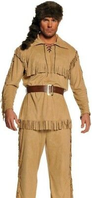 Frontier Man Costume Davey Davy Crockett Daniel Boone Buck - Plus 2XL XXL