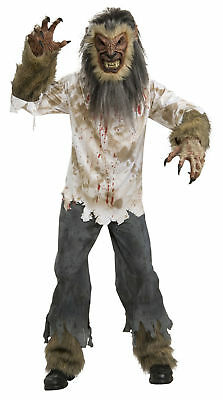 Werewolf Monster Wolfman Animal Scary Dress Up Halloween Deluxe Adult Costume](Deluxe Werewolf Halloween Costume)