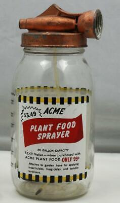 Vintage Acme Plant Food Sprayer Jar Copper Sprayer Applied Color Label Detroit